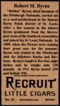 1912 T207 Reprints #22   Robert M.Byrne Back Thumbnail