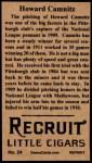1912 T207 Reprints #24    Howard Camnitz Back Thumbnail
