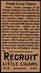 1912 T207 Reprints #28   Frank Chance   Back Thumbnail
