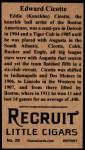 1912 T207 Reprints #29   Edward Cicotte Back Thumbnail