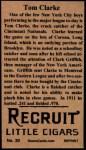 1912 T207 Reprints #30   Tommy Clarke Back Thumbnail