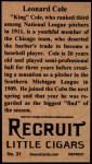 1912 T207 Reprints #31   Leonard Cole Back Thumbnail