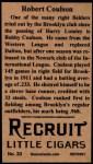 1912 T207 Reprints #33   Robert Coulson Back Thumbnail