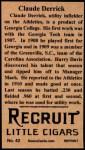 1912 T207 Reprints #42   Claud Derrick Back Thumbnail