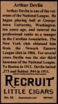 1912 T207 Reprints #43  Arthur Devlin  Back Thumbnail