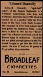 1912 T207 Reprints #46    Edward Donnelly Back Thumbnail