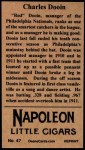 1912 T207 Reprints #47    Charles Dooin Back Thumbnail