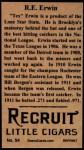 1912 T207 Reprints #54   R.E Erwin Back Thumbnail