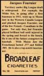 1912 T207 Reprints #59   Jacques Fournier Back Thumbnail
