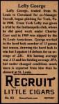 1912 T207 Reprints #63  Lefty George  Back Thumbnail