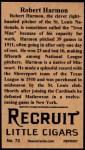 1912 T207 Reprints #73   Robert Harmon Back Thumbnail