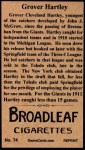1912 T207 Reprints #74   Grover Hartley Back Thumbnail