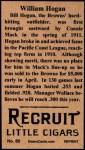 1912 T207 Reprints #80  William Hogan  Back Thumbnail