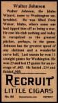 1912 T207 Reprints #84   Walter Johnson Back Thumbnail