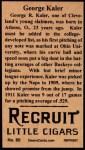 1912 T207 Reprints #85   George Kaler Back Thumbnail
