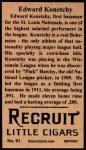 1912 T207 Reprints #91  Edward Konetchy  Back Thumbnail