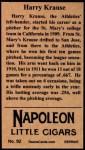 1912 T207 Reprints #92  Harry Krause  Back Thumbnail