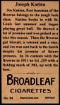 1912 T207 Reprints #94   Joseph Kutina Back Thumbnail