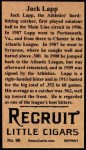 1912 T207 Reprints #96  Jack Lapp  Back Thumbnail