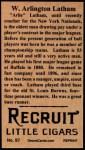 1912 T207 Reprints #97   W. Arlington Latham Back Thumbnail