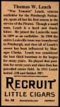 1912 T207 Reprints #98  Thomas W. Leach  Back Thumbnail