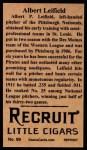 1912 T207 Reprints #99  Lefty Leifield  Back Thumbnail