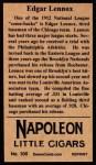 1912 T207 Reprints #100   Edgar Lennox Back Thumbnail