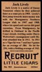1912 T207 Reprints #103  Jack Lively  Back Thumbnail