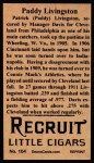1912 T207 Reprints #104  Paddy Livingston  Back Thumbnail