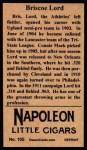 1912 T207 Reprints #105   Briscoe Lord Back Thumbnail