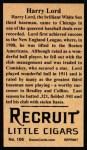 1912 T207 Reprints #106  Harry Lord  Back Thumbnail