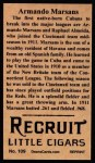 1912 T207 Reprints #109  Armando Marsans  Back Thumbnail