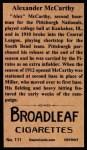 1912 T207 Reprints #111   Alexander McCarthy Back Thumbnail