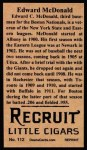 1912 T207 Reprints #112   Edward McDonald Back Thumbnail