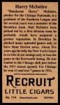 1912 T207 Reprints #114  Harry McIntire  Back Thumbnail
