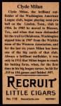 1912 T207 Reprints #118   Clyde Milan Back Thumbnail
