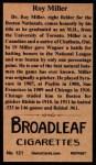 1912 T207 Reprints #121  Roy Doc Miller  Back Thumbnail