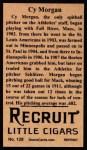 1912 T207 Reprints #128   Cy Morgan Back Thumbnail