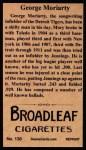 1912 T207 Reprints #130   George Moriarity Back Thumbnail