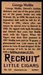 1912 T207 Reprints #131  George Mullin  Back Thumbnail