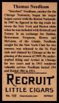 1912 T207 Reprints #132  Thomas Needham  Back Thumbnail