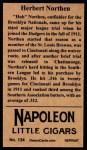 1912 T207 Reprints #134   Herbert Northen Back Thumbnail