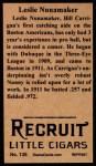 1912 T207 Reprints #135   Leslie Nunamaker Back Thumbnail