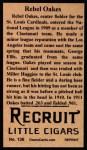 1912 T207 Reprints #136   Rebel Oakes Back Thumbnail