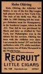 1912 T207 Reprints #138   Rube Oldring Back Thumbnail