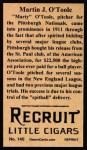 1912 T207 Reprints #140   Martin J. O'Toole Back Thumbnail