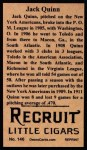 1912 T207 Reprints #146   Jack Quinn Back Thumbnail