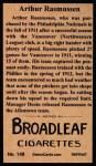 1912 T207 Reprints #148  Arthur Rasmussen  Back Thumbnail