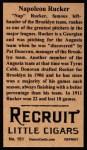 1912 T207 Reprints #151   Napoleon Rucker Back Thumbnail