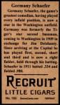 1912 T207 Reprints #155  Germany Schaefer  Back Thumbnail